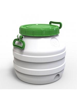 Бидон 35 л пластиковый пищевой средний зеленая крышка