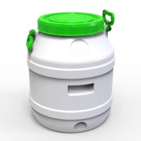 Бидон пластиковый пищевой 45 л зеленая крышка
