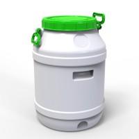 Бидон 55 л пластиковый пищевой средний зеленая крышка