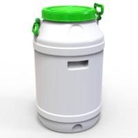 Бидон пластиковый пищевой 65 л зеленая крышка